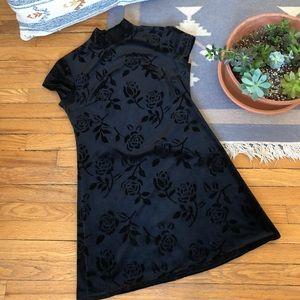Vintage 90s Black Velvet Mini Dress